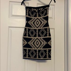 Black and gold Aztec mini dress